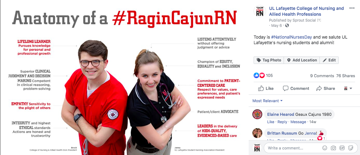 Screen shot of National Nurses Week post with statistics on reach and engagement