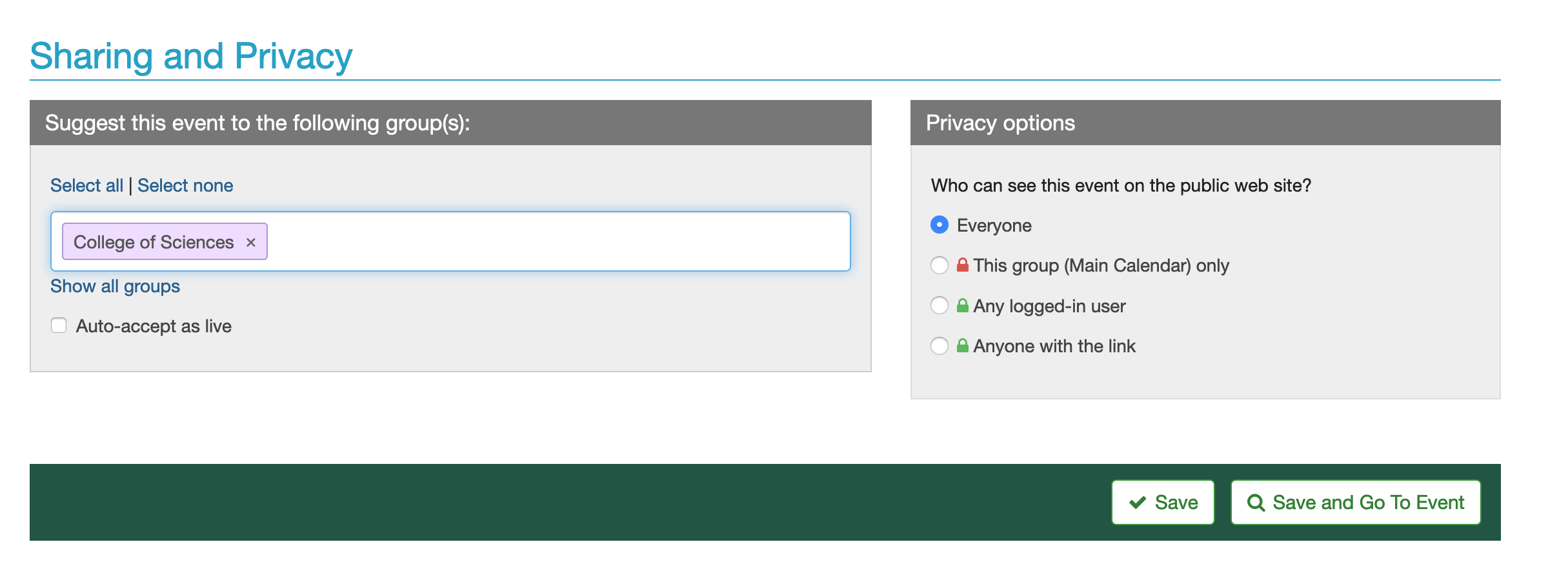 screen shot of sharing and privacy section