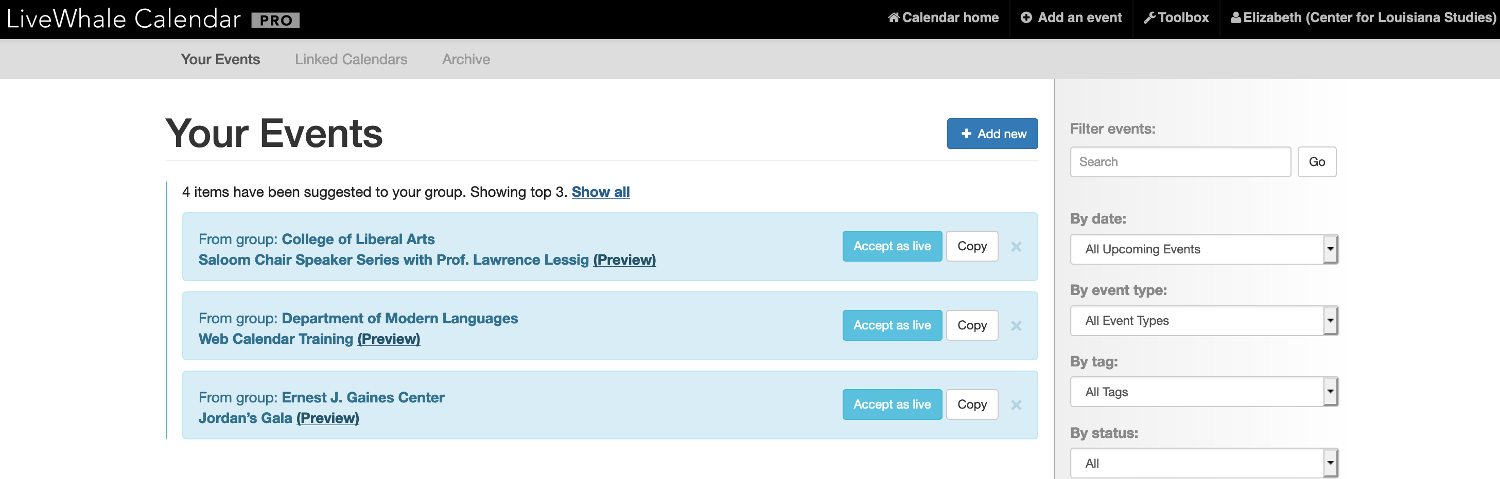 screen shot of shared events in livewhale