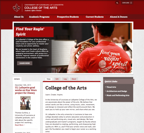 College of the Arts website