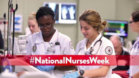 Hashtag National Nurses Week photo at UL Lafayette with two nurses