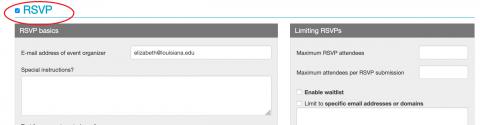 Screenshot of checkbox checked next to RSVP header